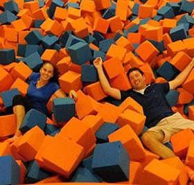 Staff jumping in foam blocks