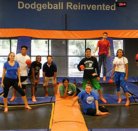 Children at dodgeball trampoline gym