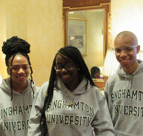 Students wearing Binghamton University sweatshirts