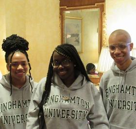 Students wearing Binghamton University sweatshirts